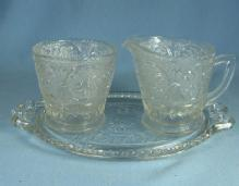 Duncan & Miller SANDWICH Clear Depression Sugar & Creamer with Oval Underplate