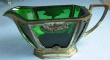 old vintage Emerald GREEN Glass Creamer Pitcher