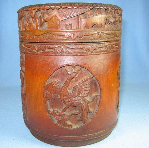 Antique Hand Carved Wood Smoking Tobacco HUMIDOR - tobacciana