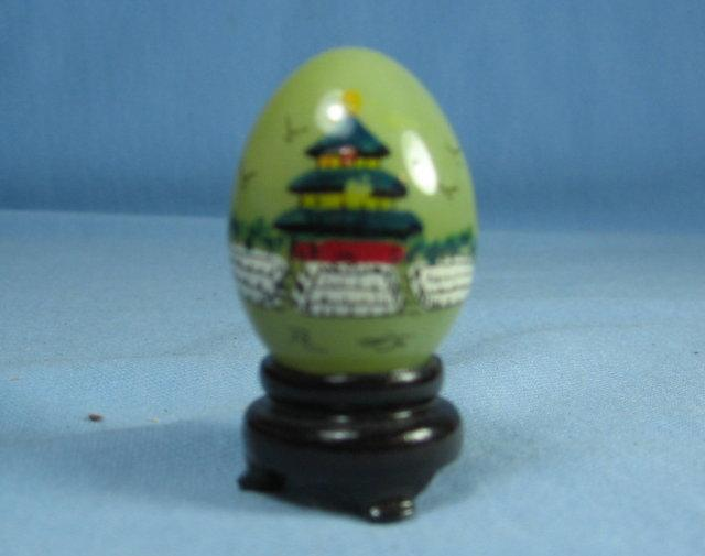 JADE Miniature Egg - Oriental Hand Painted Ethnographic