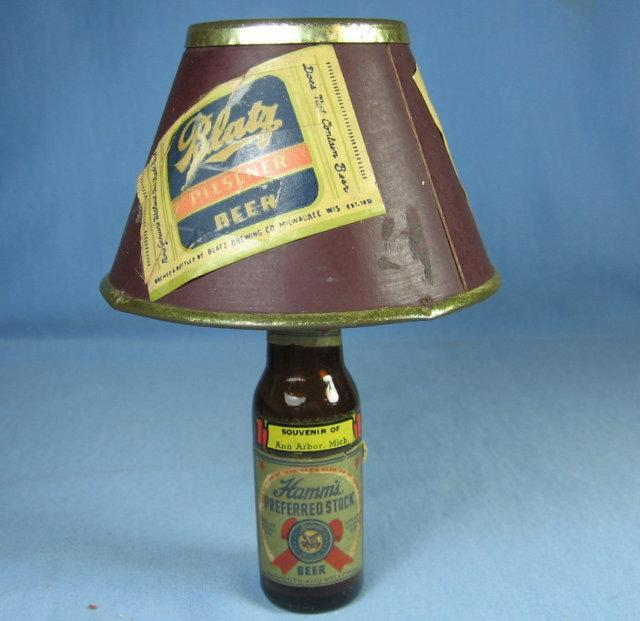 Hamm's Beer Miniature Beer Bottle Lamp - Collectible Advertising Souvenir