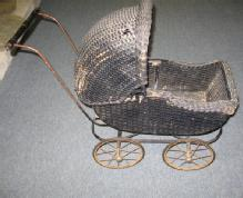 Wicker BABY Doll BUGGY - Unusual Antique Vintage Stroller