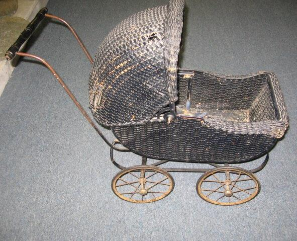 Wicker BABY Doll BUGGY - Unusual Antique Vintage Stroller
