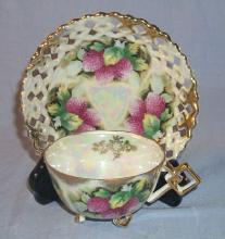 Open Lattice Mother of Pearl / Raspberries Porcelain Cup & Saucer Set