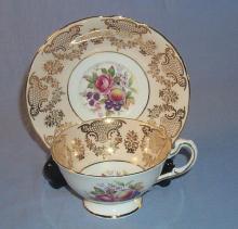 PARAGON Roses/Fruit Porcelain Cup & Saucer Set