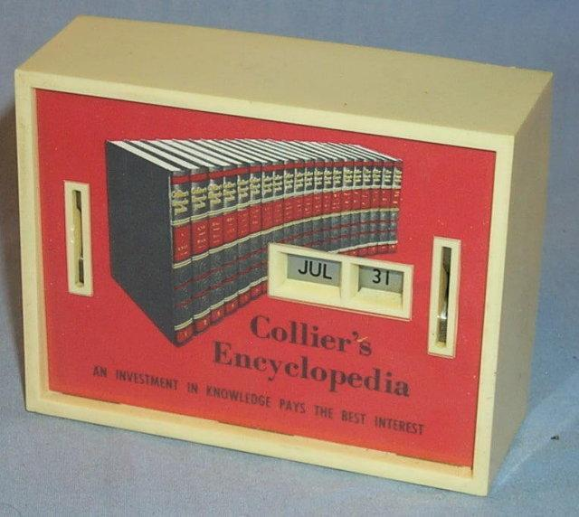 Unique COLLIER'S ENCYCLOPEDIA Advertising Calander Bank