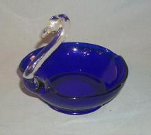 Cobalt Blue / Crystal Swan Glass Pin Dish