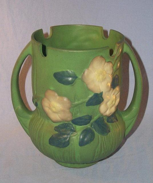 Roseville WHITE ROSE Handled Pottery Vase