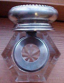 Inkwell Cut Crystal Sterling Lid - Glass