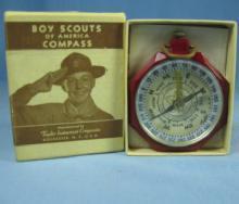 Vintage Red Bakelite BSA Boy Scout Compass in Original Box #1075