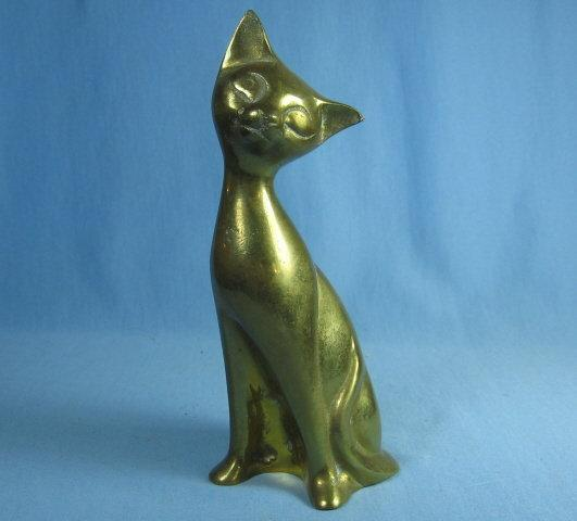 Brass CAT Kitty Paperweight - Vintage Metalware