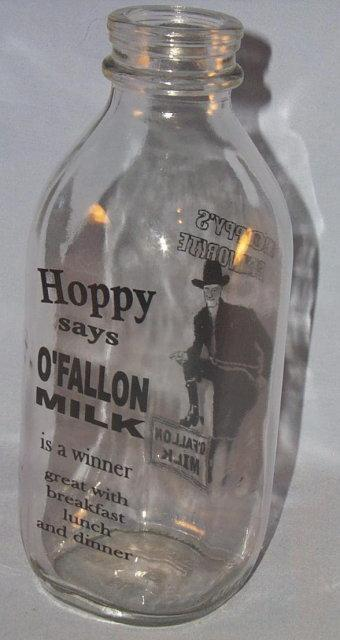 HOPALONG CASSIDY O'Fallon Clear Glass Bottle - Advertising