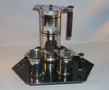 Sunbeam ART DECO Design Stainless Steel Coffee Pot Set on Porcelain Tray - Silver