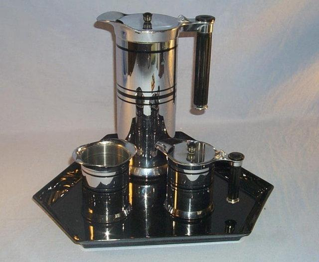 Sunbeam ART DECO Design Stainless Steel Coffee Pot Set on Porcelain Tray - Silver