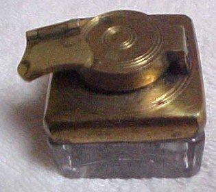 Locking Brass Travel Inkwell - Glass