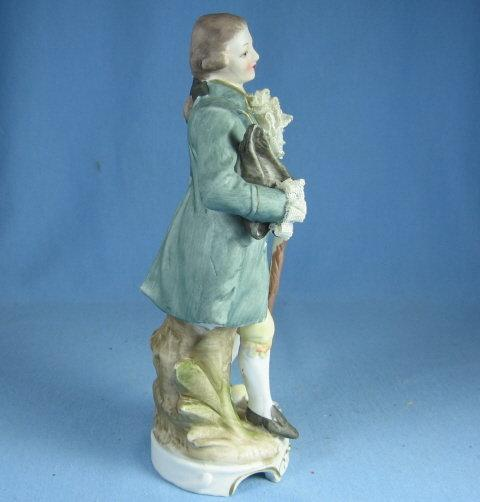 old Vintage Bisque Porcelain Colonial Man w/Dresden lace