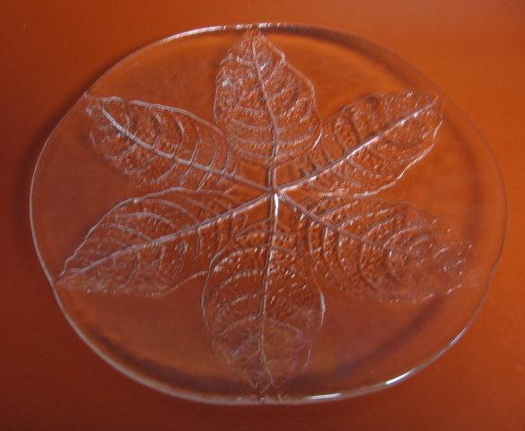 old Molded or Pressed Glass LEAF Charger or Large Cake Plate