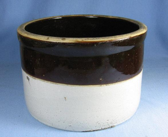 Kitchen Crock Vintage Brown & White Stoneware  Storage Vessel - misc pottery
