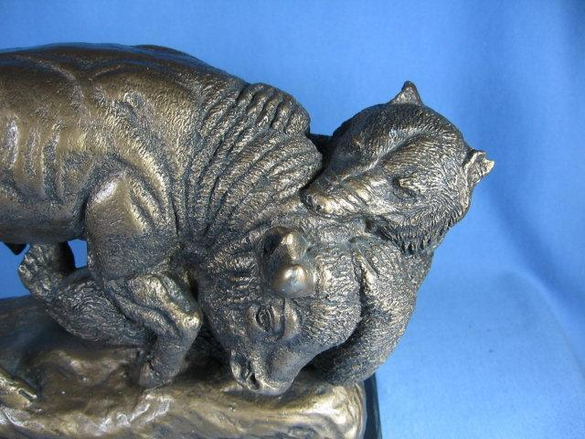 Limited edition  BUFFALO and GRIZZLY BEAR Sculpture by Austin Products - Vintage Pottery Figure