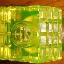 Vaseline Glass Diamond Electric Blue Lid Inkwell - Glass