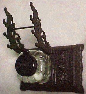 Bronzed Cast Iron Base Triple Pen Rest Inkwell - Metalware