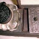 Bronzed Cast Iron Base Triple Pen Rest Inkwell - Metalware