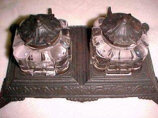 Bronzed Cast Iron Base Double Pen Rest Double Inkwell - Metalware
