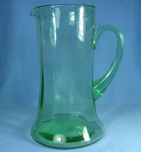 Large Green Depression Ear BLOWN Glass Tankard Pitcher