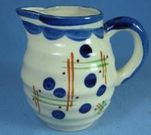 Vintage ART DECO Ringed Pottery Porcelain Pitcher