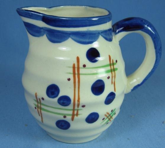 Vintage ART DECO Ringed Pottery Porcelain Pitcher
