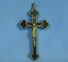 Very RARE Reliquary Crucifix Cross EBONY & Silver