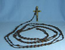 RARE 15 Decade Circa 1910 Wood Devotional Rosary EBONY & BRASS Cross ~ Nun Habit