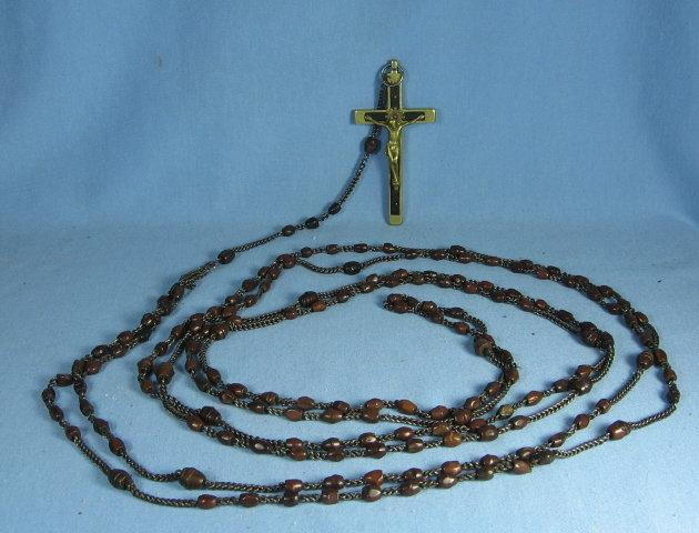 RARE 15 Decade Circa 1910 Wood Devotional Rosary EBONY & BRASS Cross ~ Nun Habit