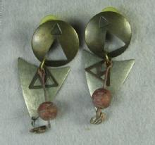 Art Deco Retro Pierced Earrings   - Vintage Estate Jewelry