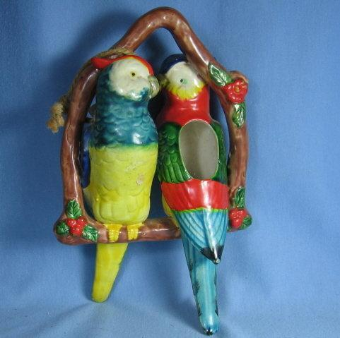Vintage Pottery Double PARROT Hanging Basket