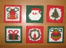Vintage Hand Crafted CHRISTMAS Holiday Coaster Group for your Hot or Cold Beverage