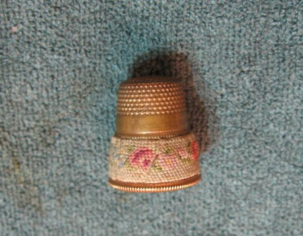 Brass and NEEDLEPOINT Sewing Thimble - textile