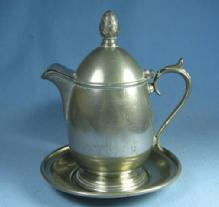 Old  Pewter SYRUP Pitcher & UNDER PLATE - metalware