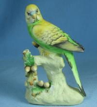 Vintage Napco Bird PARAKEET Figurine - Bisque Porcelain