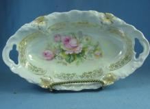 German Porcelain Luster Lustre Pierced Handle RELISH DISH Bowl