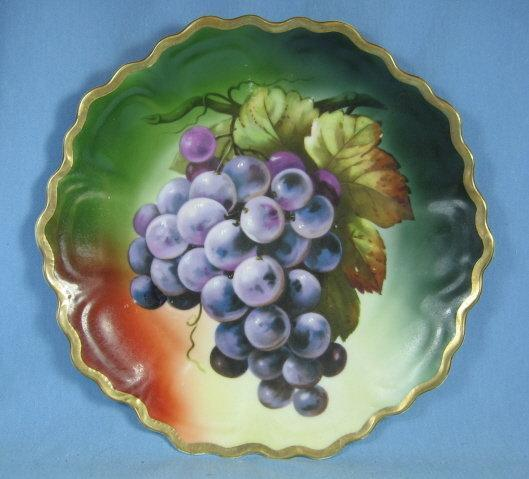 Scalloped Pottery Golden Rim GRAPE Plate - Antique Porcelain
