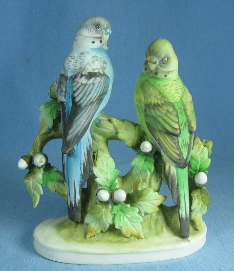 Lefton Figurine HUMMINGBIRDS - Antique Bisque Porcelain