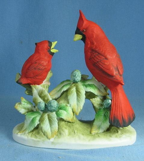 Lefton Figurine PARAKEET Bird Group - Antique Bisque Porcelain