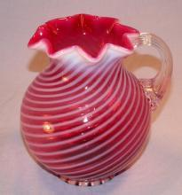 Cranberry Opalescent Swirl Glass Pitcher