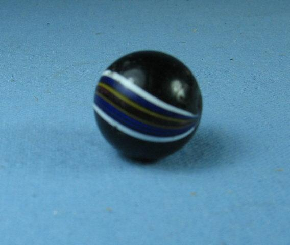 Black INDIAN SWIRL Glass Marble - Vintage Toy