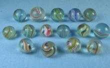 INDIAN SWIRL Glass Marble Group - Vintage Toy