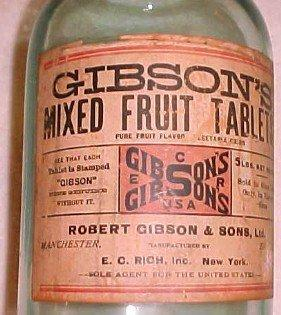 LARGE Bottle GIBSON'S Mixed Fruit Tablets Large - Glass