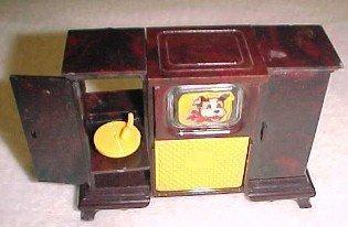 Dollhouse TV Record Player Radio Console - Toys
