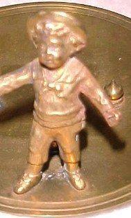 Boy Figural Inkwell Ink Well - Metalware