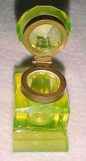 Vaseline Glass Shakespear Inkwell - Glass